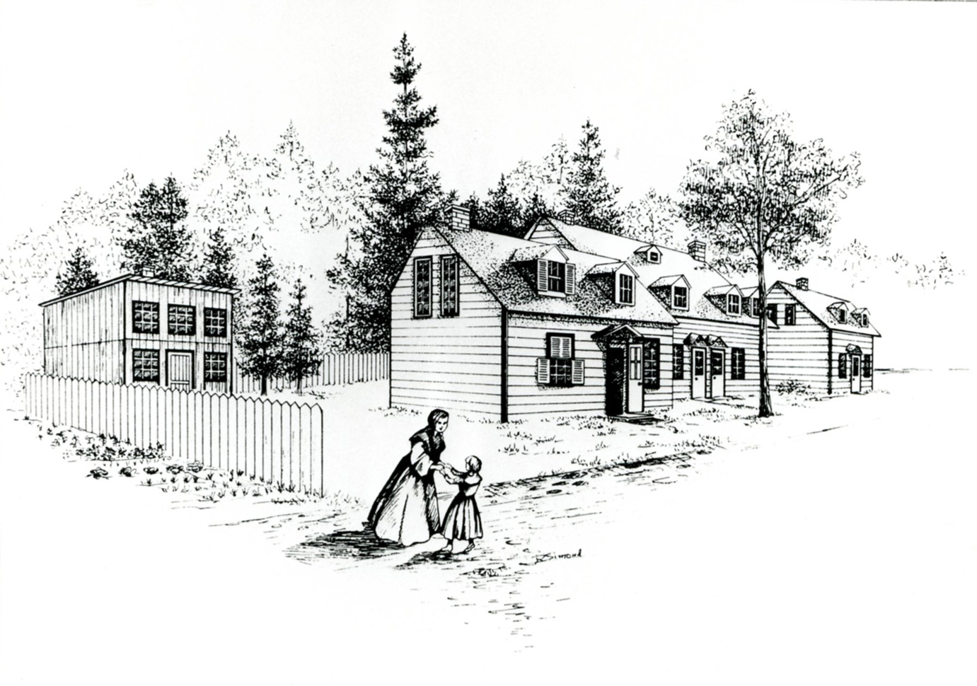 Nun in habit clasping arms with female child in a dress, three wooden buildings with gabled windows and trees in background.