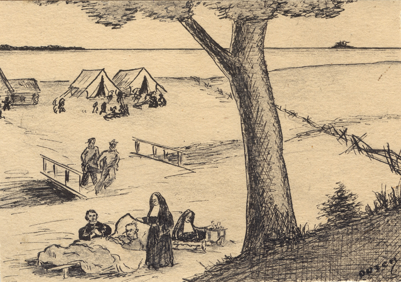 Nun in habit leaning over sick man in bed in open air, priest kneeling at his side, a second nun sitting at a small table preparing medicine, a bridge, tents, and sheds in the background with other people on the shoreline of a large lake. Large tree in foreground.