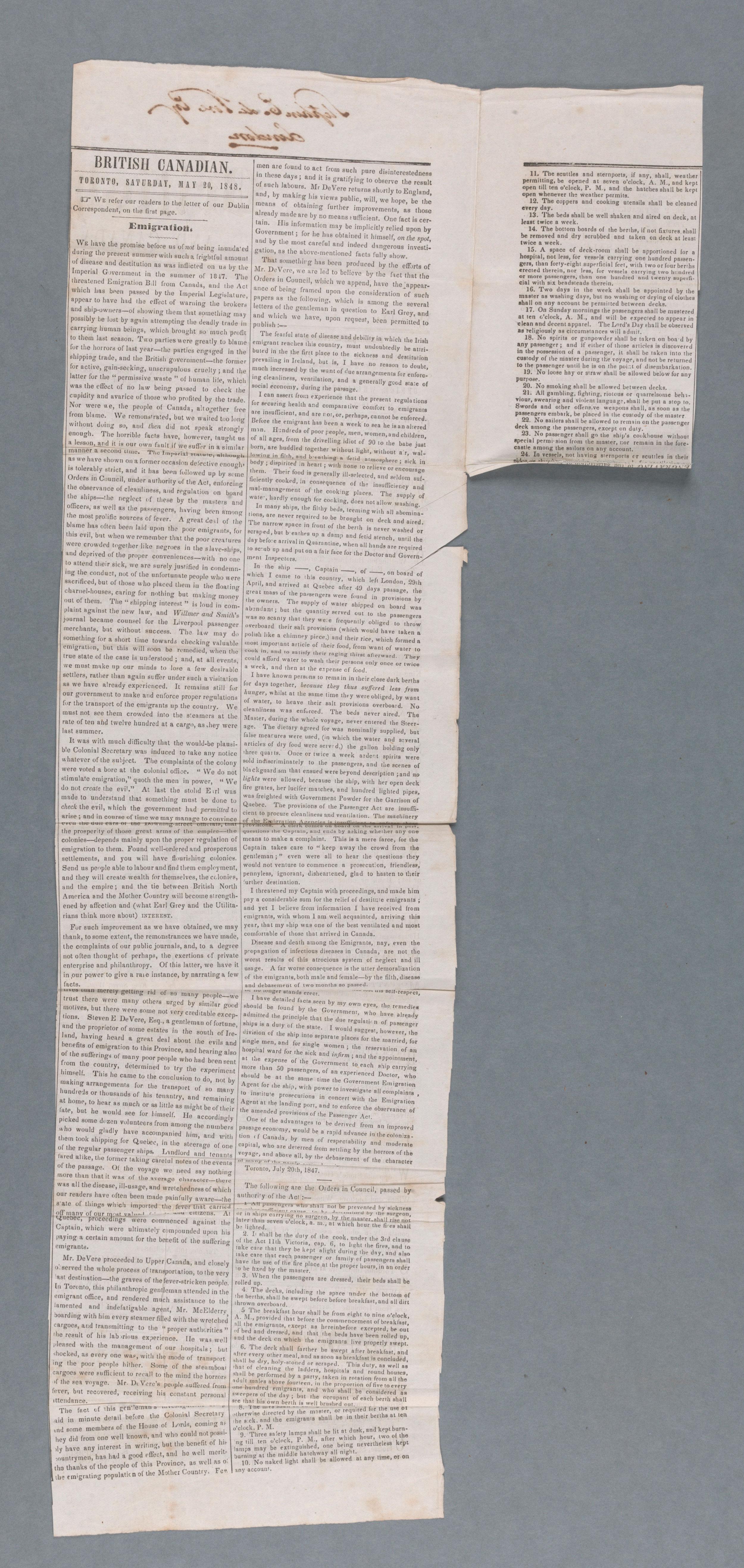 British Canadian, 20 mai 1848.
