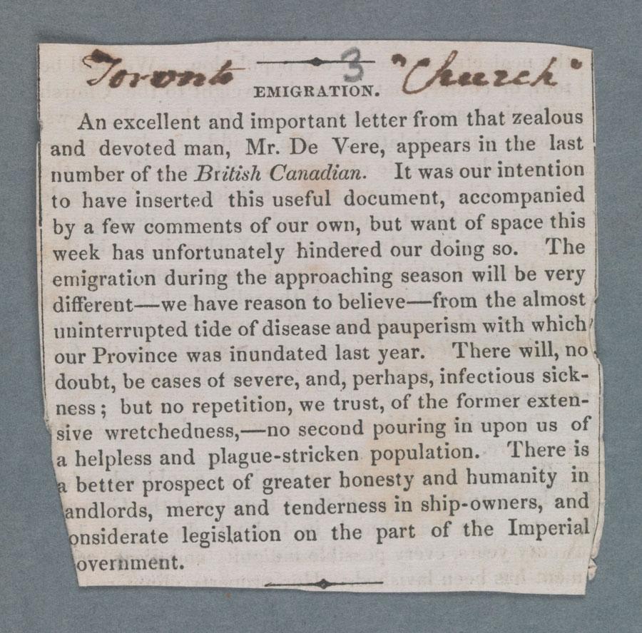 Un article non-dat�� du Church de Toronto (circa 23 mai 1848), rendant hommage �� Stephen De Vere