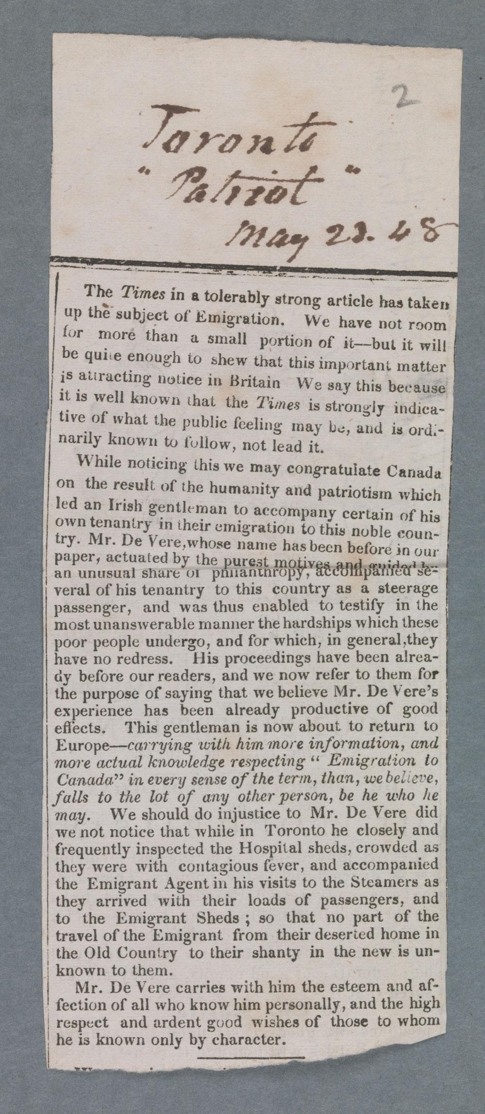 Newspaper Clipping - Toronto Patriot. 23 May, 1848.