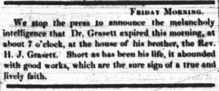 Sacrifice: Toronto's Dr. George Robert Grasett. Newspaper column, one paragraph