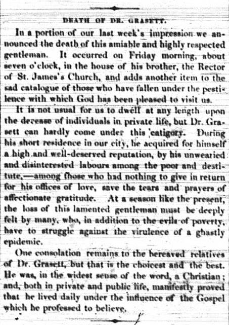 Sacrifice: Toronto's Dr. George Robert Grasett. Newspaper Clipping - The Church, July 23, 1847