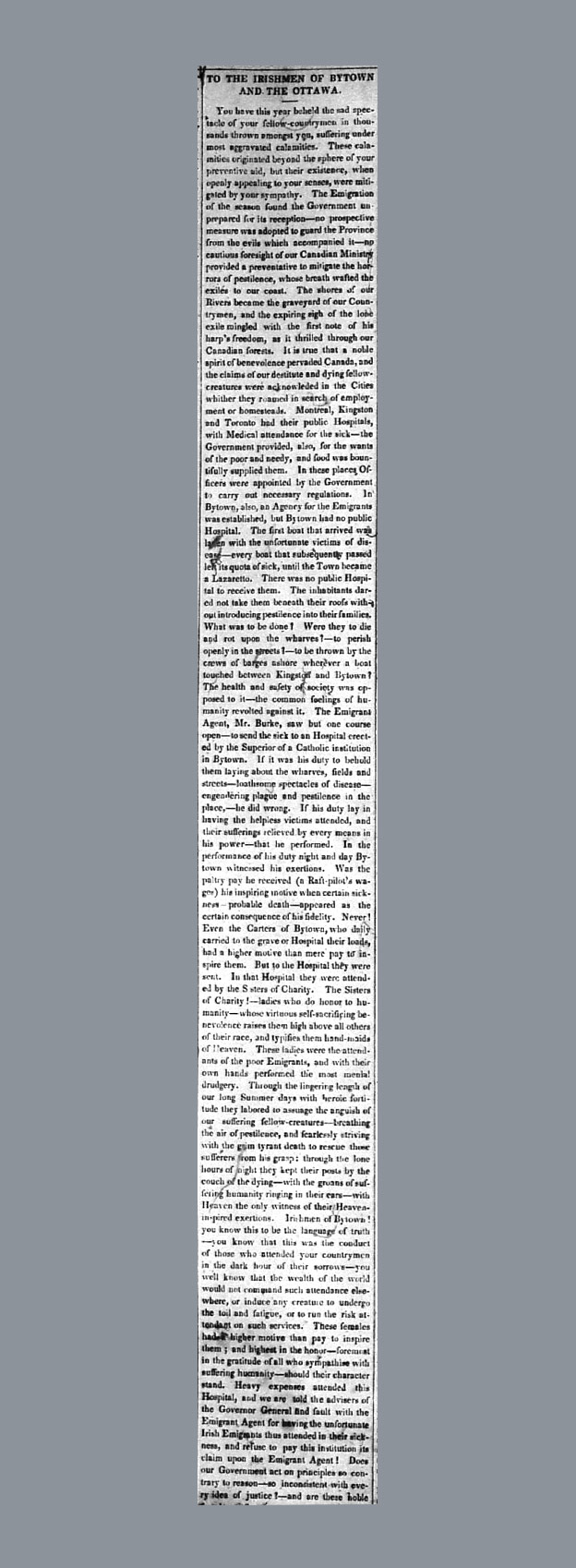 Irishmen of Bytown article in the Packet newspaper (18 December, 1847)