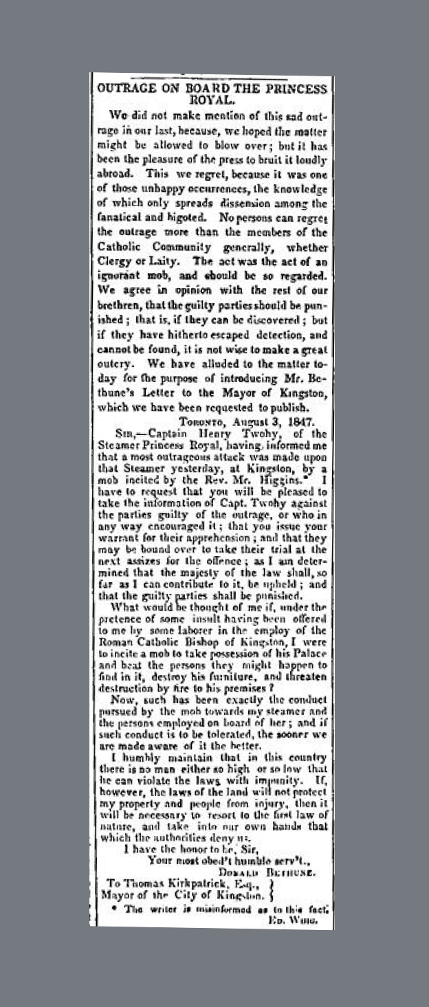 Outrage on Princess Royal British Whig Kingston August 7 1847