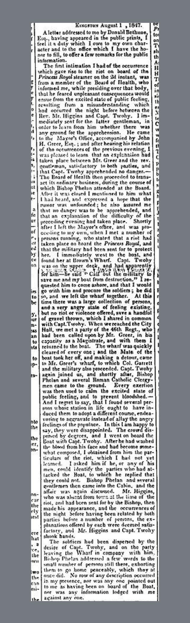 Princess Royal Riot British Whig Kingston August 18 1847