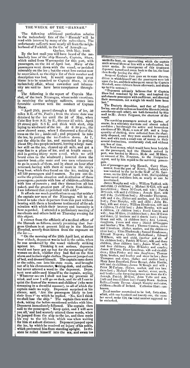 Newspaper account of the wreck of the Hannah in the Newry Examiner (9 June, 1849)