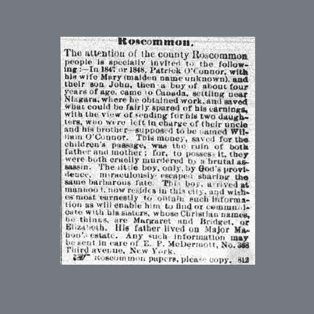 Newspaper Clipping - John O'Connor seeking relations, Irish American, February 18, 1871