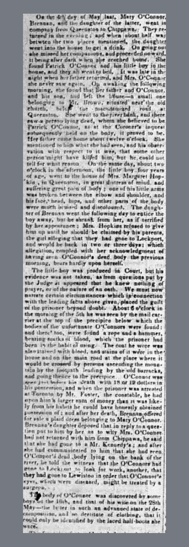 Newspaper Clipping - Murder Trial of Thomas Brennan, Globe, 27 September, 1848
